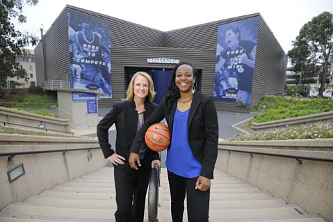 <b>FAMILIAR FACE:</b>  UCSB's new head women's basketball coach Bonnie Henrickson (left) tapped former Gaucho star Mia Fisher (right) to be an assistant head coach. Together, they hope to turn the team around from the recent dismal 2-27 season.