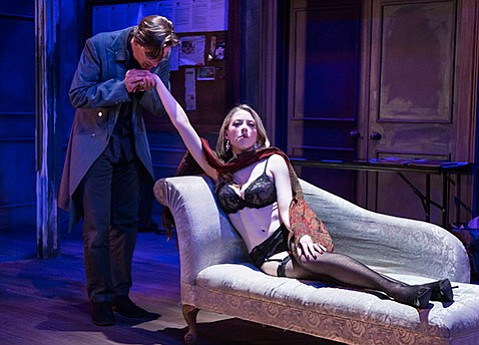 <b>DOUBLE ENTENDRE:</b>  Bruce Turk and Annie Abrams turn up the heat as the writer Thomas Novachek and Vanda Jordan, an actress auditioning for the lead in Novachek's adaptation of Leopold von Sacher-Masoch's novella <i>Venus in Furs</i>.