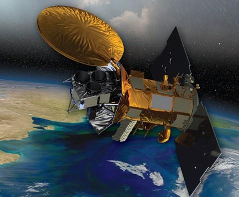 Artist's rendering of the Aquarius/SAC-D satellite as it would appear in orbit.