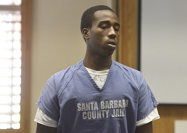 Isla Vista shooting suspect James Taylor stands in court during this week's preliminary hearing.