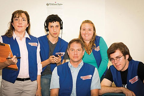 The cast of <i>A Bright New Boise</i> play quirky Hobby Lobby employees.