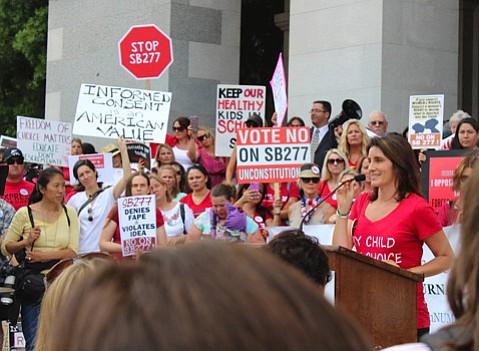 Vaccine skeptic Brandy Vaughan (far right)