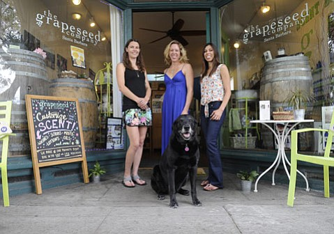 L to R Grapeseed Company's manager Breanne Wright, CEO Kristin Fraser, and product manager/chef Silvia Corral