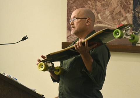 <b>Opposed: </b> Brad Miller implores the supervisors, on July 7, not to adopt CHP recommendations that ban skateboarding on certain county roads.
