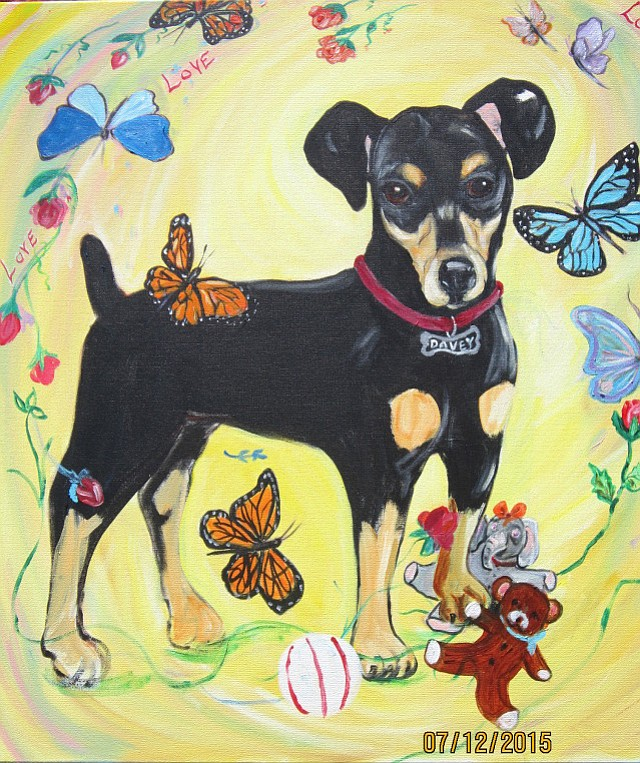 "This painting of Davey was created by Dr. Linda Branch. ""My hopes are that the healing process for Puppy Davey will start with this painting,"" she said, ""and then we can all work together to ensure that stiffer laws will come forth."""