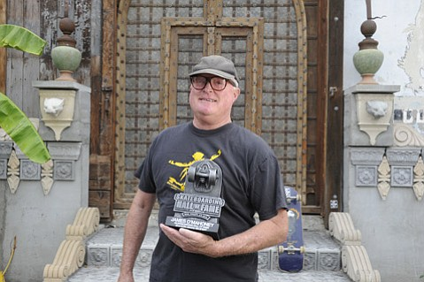 <b>SIDEWALK SURFER:</b> Santa Barbara Surfing Museum curator James O'Mahoney recently received the Icon Award from the Skateboarding Hall of Fame.