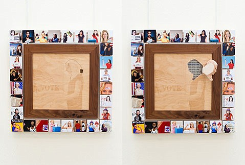 """<b>SOCIAL STUDIES:</b>  Brooks Institute graduate student Jennifer Johns confronts prejudices and stereotypes in mixed-media pieces such as """"Women Shouldn't"""" (pictured) and """"Blacks Are"""" in her exhibit <i>The Visual Indoctrination of the Bigot.</i>"""