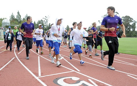 <b>LIVE STRONG:</b> World-class athletes and coaches from Guatemala, Honduras, Nicaragua, and St. Kitts and Nevis practice for the 2015 Special Olympics World Games at Westmont College.