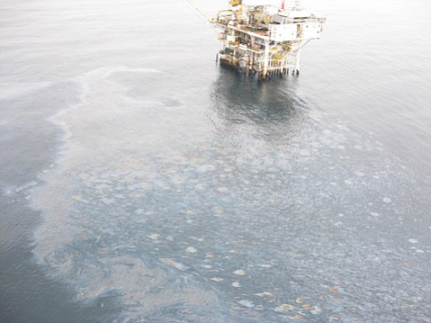 Though the oil sheen swirled near Platform Holly, federal and company officials said the drilling platform was not to blame.