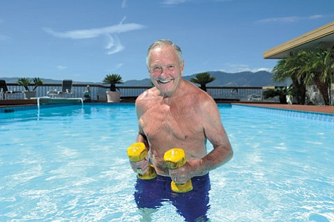 <b>BILLY BE FIT:</b> Even after turning 88 years old on 8/8, Bill Bertka is the epitome of health, swimming regularly in his pool and walking on the beach with Solveig Bertka, his wife of 60 years.