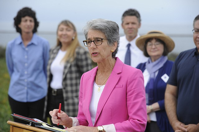 State Senator Hannah-Beth Jackson, joined by Assemblymember Das Williams among others, announces that she is co-authoring a bill that would ban new offshore oil drilling in state waters off Tranquillon Ridge.