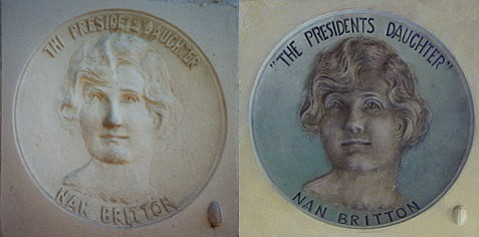 Nan Britton's weather-worn medallion at Franceschi House (left) commemorates her book about her daughter with Warren Harding. At right is its twin at Alden Freeman's Miami Beach home.
