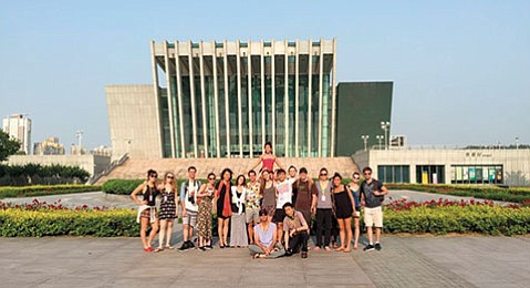 <b>SHENYANG EN POINTE:</b>  Meredith Harrill strikes a pose outside the theater in Shenyang, Liaoning Province, northeast China.
