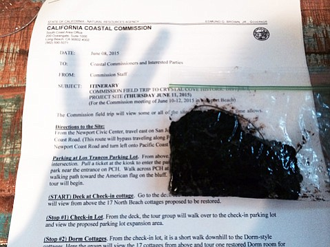 A sample from the beach at Orange County's Crystal Cove tested by Unified Command turned out to be from the Refugio Oil Spill.