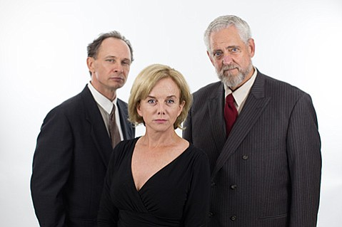 <b>NUCLEAR AGE:</b>  (from left) Brett Rickaby, Linda Purl, and Peter Van Norden star in Rubicon Theatre's production of the Tony Award–winning play about a speculative conversation between atomic physicists Niels Bohr and Werner Heisenberg.