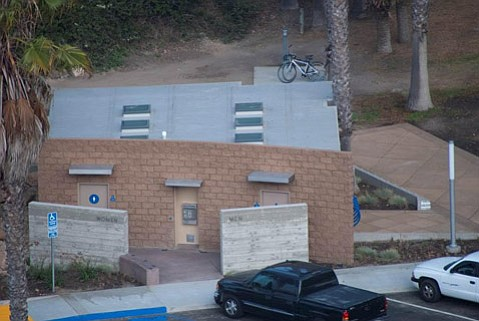 An aerial view of the new restroom at Hendry's Beach.