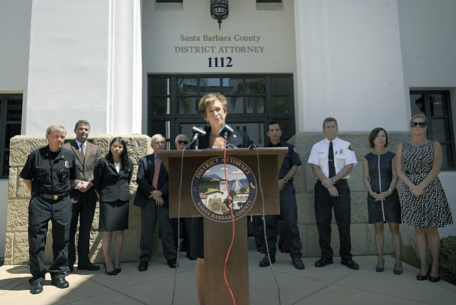 Santa Barbara County District Attorney Joyce Dudley holds a press conference to discuss a pre-plea diversion agreement with two juveniles involved with a fire that left a third juvenile badly burned. (Aug. 24, 2015)