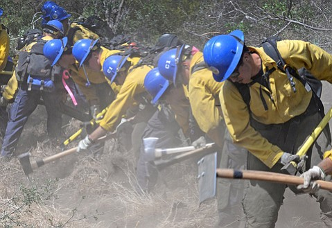 <b>IN THE TRENCHES: </b> Firefighting ground crews clear a line during training.