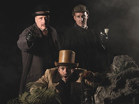 <b>HOWLING GOOD FUN:</b>  Jon Koons (left), Brian Harwell (right) and Joshua Daniel Hershfield (front) star in Sir Arthur Conan Doyle's classic mystery.
