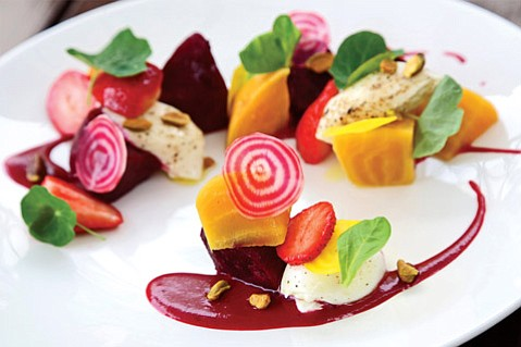 Roasted Beet Salad with Toasted Pistachios, Strawberries, Burrata, Frisée, and Hibiscus Vinaigrette by The Lark's Chef Jason Paluska