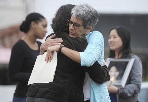 State Senator Hannah-Beth Jackson hugs Elizabeth Tang, whose daughter Alexandra was murdered by her boyfriend in 2012.