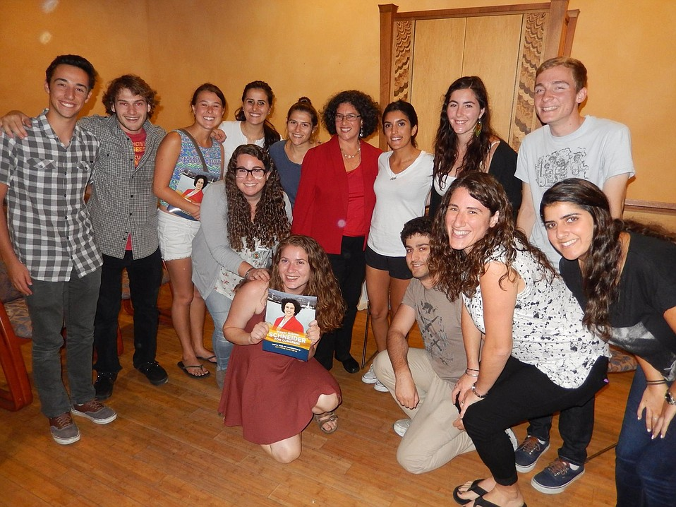 Santa Barbara Mayor and congressional candidate Helene Schneider discussed hot-button issues Tuesday with local college students at Santa Barbara Hillel in Isla Vista.