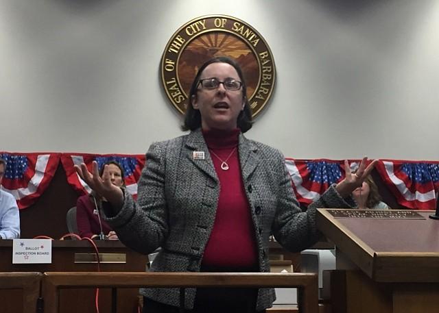 City clerk Gwen Pierce explains the ballot counting process.