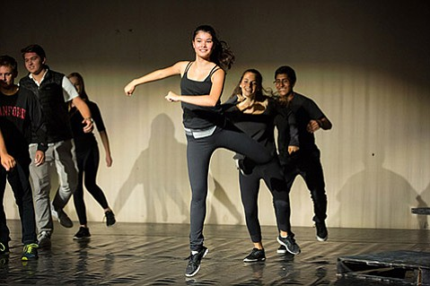 <b>THE SCARLET LETTER:</b>  Laguna Blanca students (from left) Clara Hillis, Maddie Sokolove, and Darwin Miguel perform in a Library Dances show from October.
