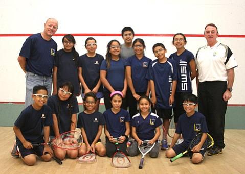 Santa Barbara School of Squash students and their director Robert Graham (far left)