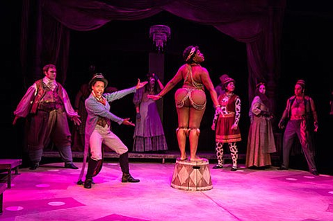 <b>CARNIVAL CRUELTY:</b>  Tonea Lolin turns in an excellent and affecting performance in the title role of Sarah Baartman in UCSB's production of <i>Venus</i>.