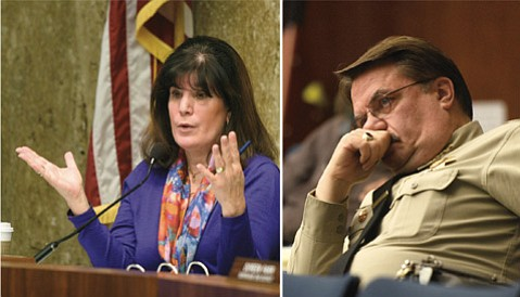 <strong>NO LOVE LOST: </strong> Supervisor Janet Wolf and Sheriff Bill Brown sparred yet again on Tuesday. Brown lost this round.
