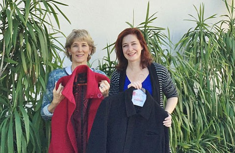 Trudi Carey, left, and Sasha Ablitt have teamed up with the One Warm Coat project to ensure everyone has a warm coat in Santa Barbara.