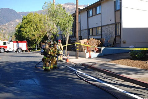 City firefighters prepared for the worst after a gas line broke Monday morning near La Cumbre Plaza Apartments.