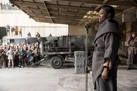<b>DISTRICT INSURRECTIONS:</b>  Patina Miller plays Commander Paylor, leader of the rebel forces in District 8, in the final installment of the <i>Hunger Games</i> series.