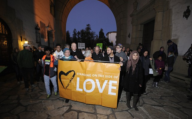 Santa Barbara's interfaith community led a Monday-night peace walk and vigil for the victims of the San Bernardino shooting.