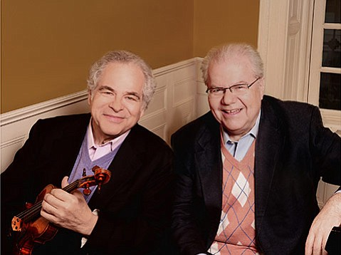 <b>TWO OF A KIND:</b>  Legendary musicians Itzhak Perlman (left) and Emanuel Ax join forces on Mozart, Strauss, and Fauré.