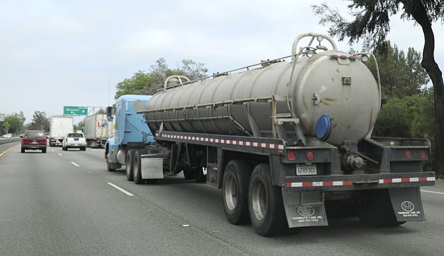 Oil truck on the 101 freeway