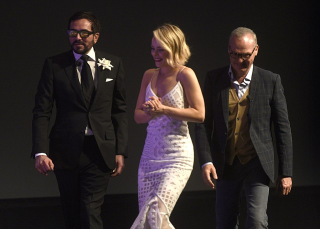 Lucky fans got a few autographs when Rachel McAdams and Michael Keaton came to the Arlington Theatre and received the 2016 SBIFF Riviera Award (along with Mark Ruffalo who was unable to attend the event) presented by Spotlight director Tom McCarthy. (Feb. 5, 2016)