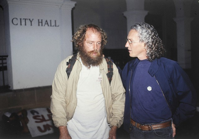 Ed Mannon (left) outside City Hall with attorney Robert Landheer circa 1990