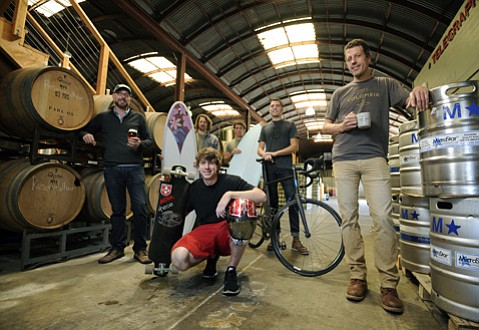 <strong>CRAFTY CREW: </strong> Celebrating all things handmade this Friday will be (from left) Brian Thompson of Telegraph Brewing; surfboard shapers Ryan Lovelace and Brad Martin; Kevin Reimer from Aera Trucks; Aaron Stinner from Stinner Frameworks; and Aaron Olson of Handlebar Coffee.