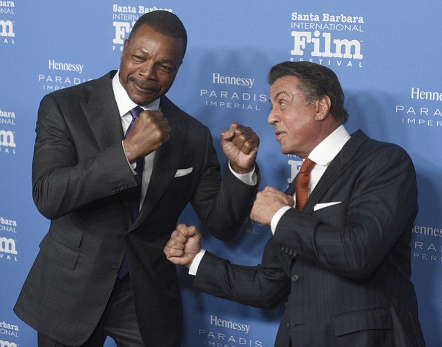 Sylvester Stallone receives the SBIFF 2016 Montecito Award presented by Carl Weathers. (Feb. 9, 2016)..