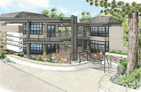An artist rendering shows remodel plans for Montecito's Coast Village Plaza.