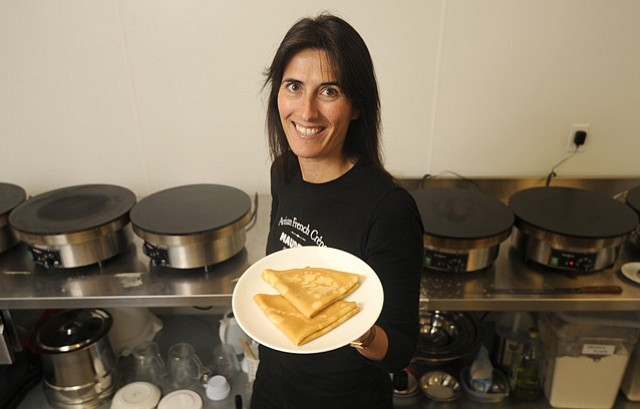 Benedicte Maudet launches her fresh crêpe and gallete business on East Haley Street.