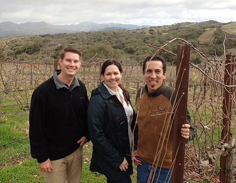 <strong>HALLOWED GROUND: </strong> From right, Zaca Mesa's winemaker Eric Mohseni, associate winemaker Kristin Bryden, and brand ambassador Dane Campbell are positioning this historic property for a bright future.