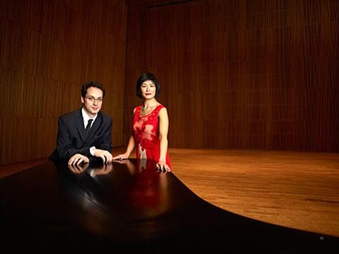 Pianist Shai Wosner (left) and Jennifer Koh