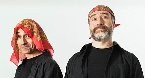 <b>ALL THE WORLD'S A STAGE:</b>  Brothers Bruno (left) and Odiseo Bichir lampoon Hollywood hierarchies in their bilingual sociopolitical comedy <i>eXtras</i>, which plays at the Rubicon Theatre.