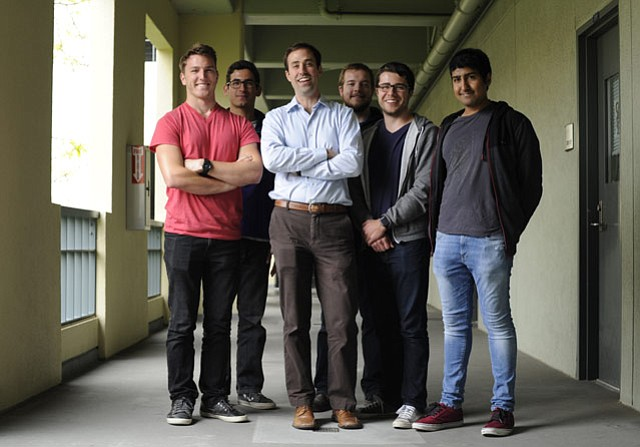 <strong>SQUAD GOALS: </strong> Faculty advisor Tyler Susko (center) is flanked by UCSB Hyperloop team members (from left) Trevor Fritz, Jack Abram, Zachary Guilford, Lucas Dewey, and Viraj Khatri.