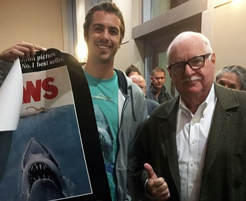 <em>Jaws</em> screenwriter Carl Gootlieb with <em>Jaws</em> superfan, UCSB Film Studies senior Josh Smith.