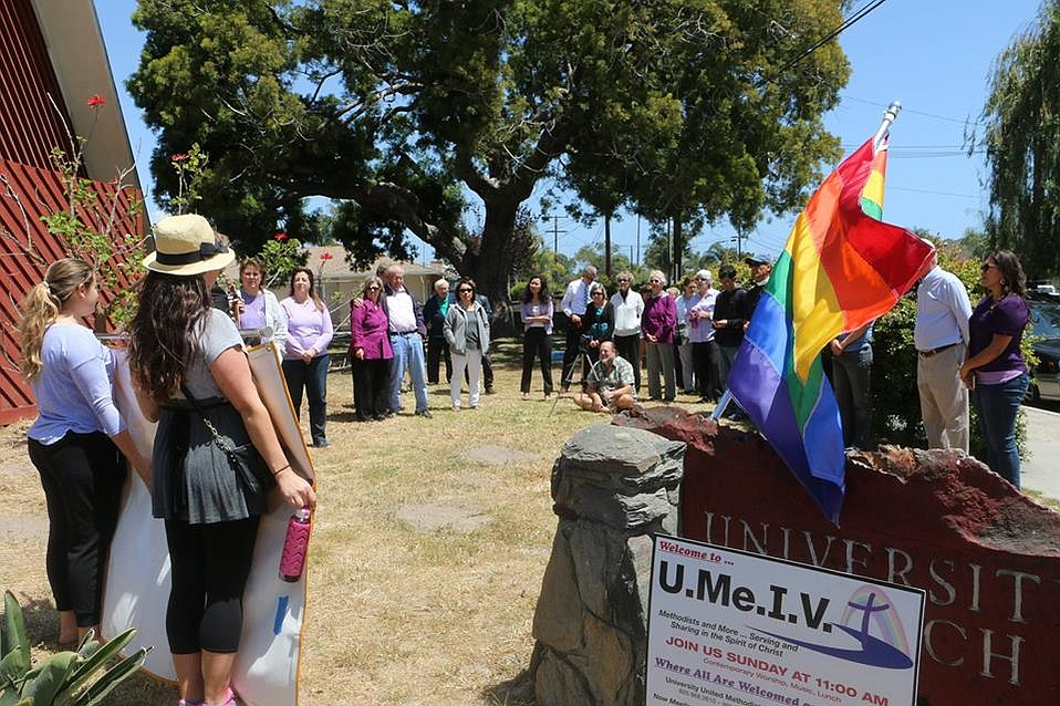 "Isla Vista residents gathered on Mayday to declare I.V. a ""safe zone"" following homophobic comments made by an outside congregation at the college town's United Methodist Church."