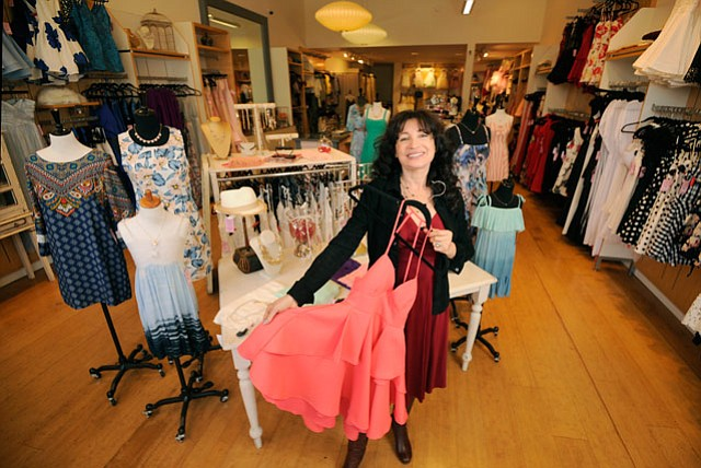 <strong>IMPRESSING WITH DRESS:</strong>  Gazillion Dresses owner Inga Hartmann shows off one of her many styles.